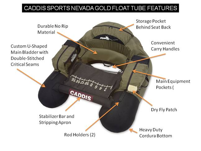 Caddis Sports Nevada Gold Float Tube Features